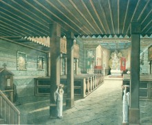 12.Interiér starého dřevěného kostelíka v kresbě Ludvíka Bortla