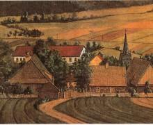 3.Kresba centra staré Kopřivnice v kresbě Ludvíka Bortla