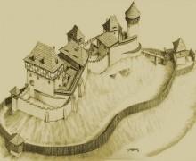8.Hypotetická rekonstrukce hradu Šostýna dle J. P. Štěpánka